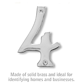 Salsbury 1220C-4 (4 Inch) Solid Brass Number Chrome Finish 4