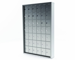 42 Door Mini Storage Cabinet - 5in. H X 4in. W 'A' size doors. Surface Mount - No main access