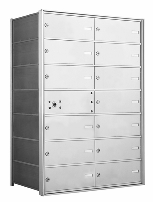 4B+ Front-Loading Horizontal Mailboxes - 13 Tenant Double Wide Doors