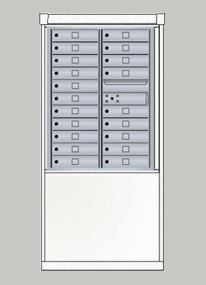 4C mailbox w/ Depot kiosk kit 20 tenant doors and 1 outgoing compartment - 4CHT8-20, DEPM2