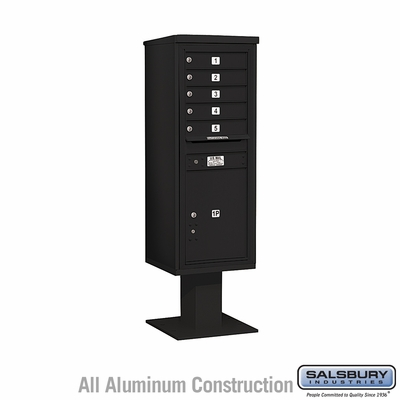 Salsbury 3413S-05BLK 5 Door 4C Pedestal Mailbox - Black with Parcel Locker