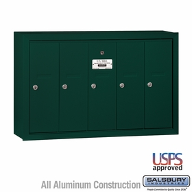 Salsbury 3505GSU 5 Door Vertical Mailbox Green Surface Mounted USPS Access