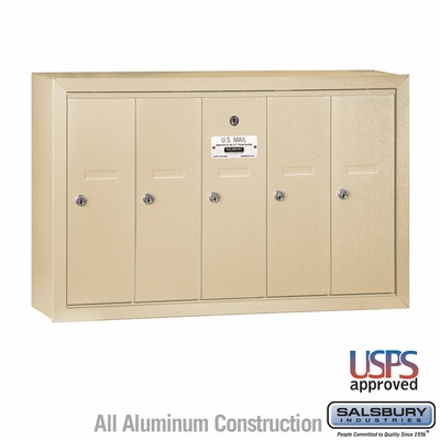 Salsbury 3505SSU 5 Door Vertical Mailbox Sandstone Surface Mounted USPS Access