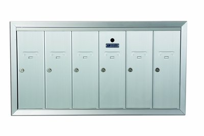 6 Compartment Fully Recessed Vertical Replacement Mailboxes - Anodized Aluminum