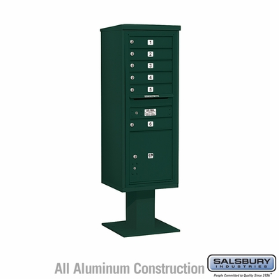 Salsbury 3413S-06GRN 6 Door 4C Pedestal Mailbox - Green with Parcel Locker