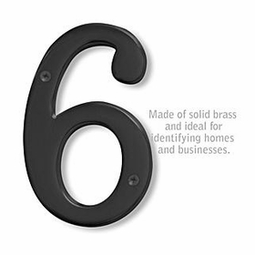 Salsbury 1230BLK-6 (6 Inch) Solid Brass Number Black Finish 6