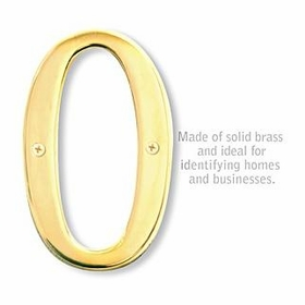 Salsbury 1230B-0 (6 Inch) Solid Brass Number Brass Finish 0