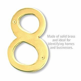 Salsbury 1230B-8 (6 Inch) Solid Brass Number Brass Finish 8