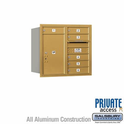 Salsbury 3707D-06GRP 4C Mailboxes 6 Tenant Doors Rear Loading