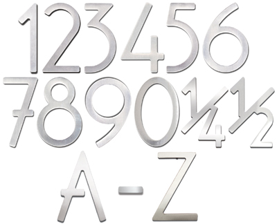 House Numbers and Letters Brushed Raw Stainless Steel Contemporary 5 Inch