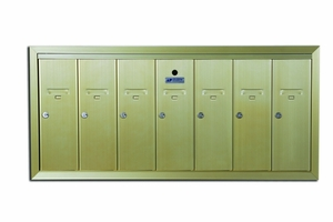 7 Compartment Fully Recessed Vertical Replacement Mailboxes- Gold Powder Coat