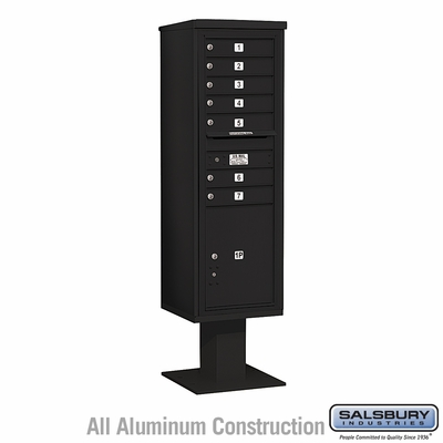 Salsbury 3415S-07BLK 7 Door 4C Pedestal Mailbox Black Single Column with Parcel Locker