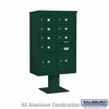 Salsbury 3413D-07GRN 7 Door 4C Pedestal Mailbox Green Double Column with Parcel Locker