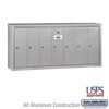Salsbury 3507ASU 7 Door Vertical Mailbox Aluminum Finish Surface Mounted USPS Access