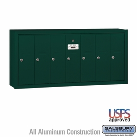 Salsbury 3507GSU 7 Door Vertical Mailbox Green Surface Mounted USPS Access