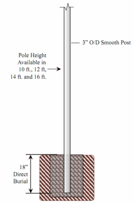 7 foot Smooth Aluminum Direct Burial Post with Photo Contol -390