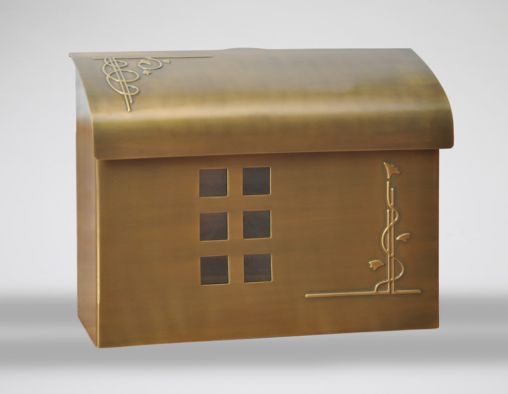Ecco Mailboxes E7 Wall Mount Mailbox Satin Brass