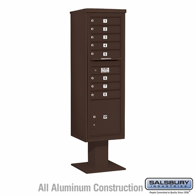Salsbury 3415S-08BRZ 8 Door 4C Pedestal Mailbox - Bronze with Parcel Locker