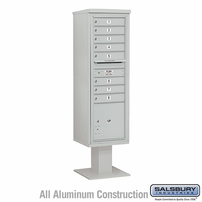 Salsbury 3415S-08GRY 8 Door 4C Pedestal Mailbox - Gray with Parcel Locker