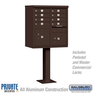 Salsbury 3308BRZ-P 8 Door Cluster Mailbox Bronze - Private Access
