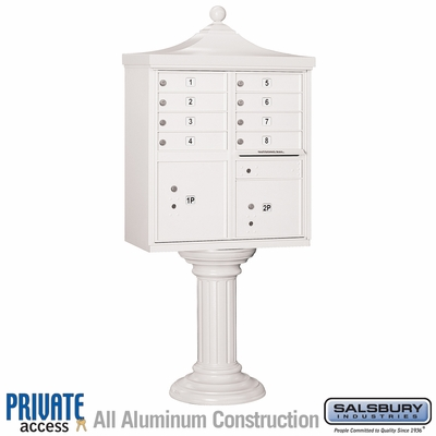 Salsbury 3308R-WHT-P 8 Door Regency Decorative Cluster Mailbox White - Private Access