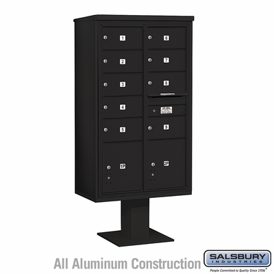 Salsbury 3415D-09BLK 9 Door 4C Pedestal Mailbox - Black with Parcel Locker