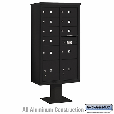 Salsbury 3416D-09BLK 9 Door 4C Pedestal Mailbox Black Double Column with Parcel Locker