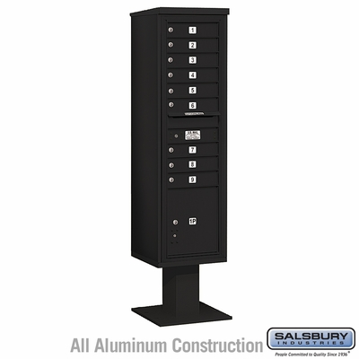Salsbury 3416S-09BLK 9 Door 4C Pedestal Mailbox Black Single Column with Parcel Locker