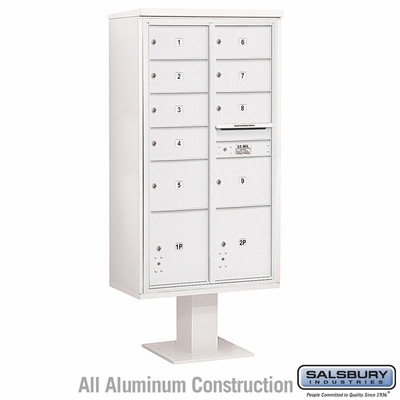 Salsbury 3416D-09WHT 9 Door 4C Pedestal Mailbox White Double Column with Parcel Locker