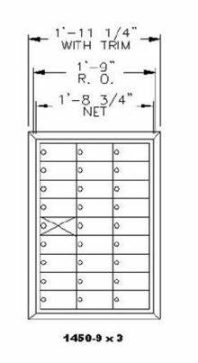 "9 Doors High x 3 Doors Wide (26 Tenants) (3"" H x 6 3/8"" W) 1450 Series Mailbox Front-Load Private Mailbox"