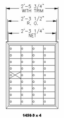 "9 Doors High x 4 Doors Wide (35 Tenants) (3"" H x 6 3/8"" W) 1450 Series Mailbox Front-Load Private Mailbox"
