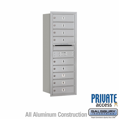 Salsbury 3711S-09ARP 9 Tenant Door 4C Mailbox - Aluminum - Rear Loading - Private Access