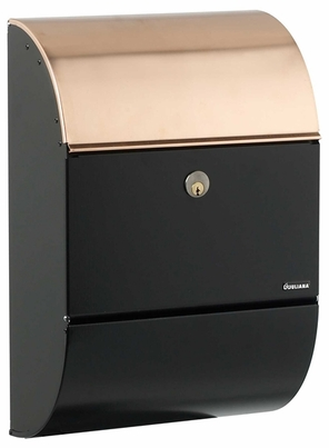 Allux 3000 Locking Wall Mount Mailbox - Black with Copper