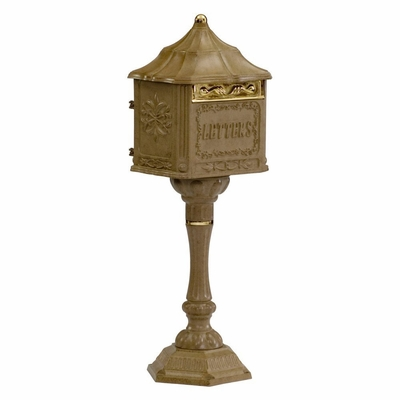 Amco Colonial Pedestal Mailbox in Antique Moccasin