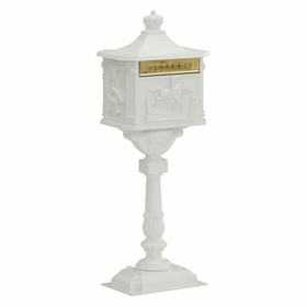 Amco Victorian Pedestal Locking Mailbox in White