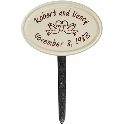 Whitehall Anniversary Heart Birds Ceramic Oval - Petite Lawn Address Sign - Two Line - Red