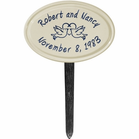 Whitehall Anniversary Heart Birds Ceramic Oval - Petite Lawn Address Sign - Two Line - Dark Blue