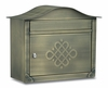 Antique Brass Peninsula Locking Wall Mount Mailbox with Eternity Door