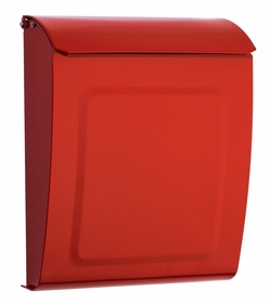 Aspen Powder-Coated Steel Locking Wall-Mount Mailbox in Red