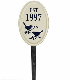 Whitehall Bird Silhouette Ceramic Oval - Petite Vertical Lawn Address Sign - One Line - Black