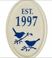 Whitehall Bird Silhouette Ceramic Oval - Petite Vertical One Line Wall Plaque - Dark Blue
