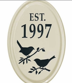 Whitehall Bird Silhouette Ceramic Oval - Petite Vertical One Line Wall Plaque - Black
