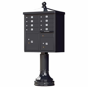 Black Cluster Box Unit with Finial Cap and Traditional Pedestal accessories - 8 compartment