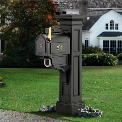 Liberty Mailbox Post in Black