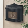 Black Wall Mount Mailbox with Antique Bronze Leaf Emblem