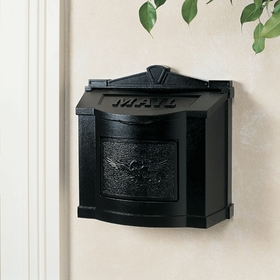 Black Wall Mount Mailbox with Black Eagle Emblem