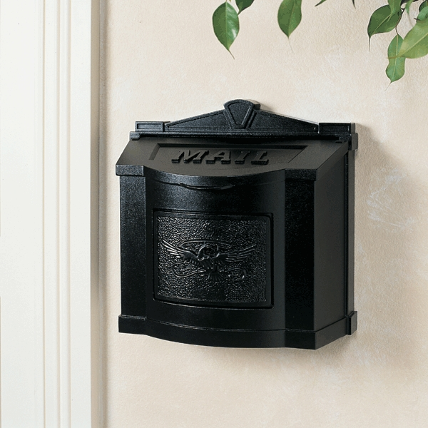 Gaines Mailboxes Black Wall Mount Mailbox With Black