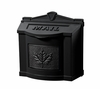 Black Wall Mount Mailbox with Black Leaf Emblem