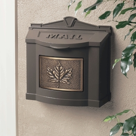 Bronze Maple Leaf Wall Mount Mailbox With Antique Bronze Faceplate