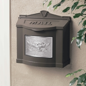 Bronze Wall Mount Mailbox with Satin Nickel Eagle Emblem